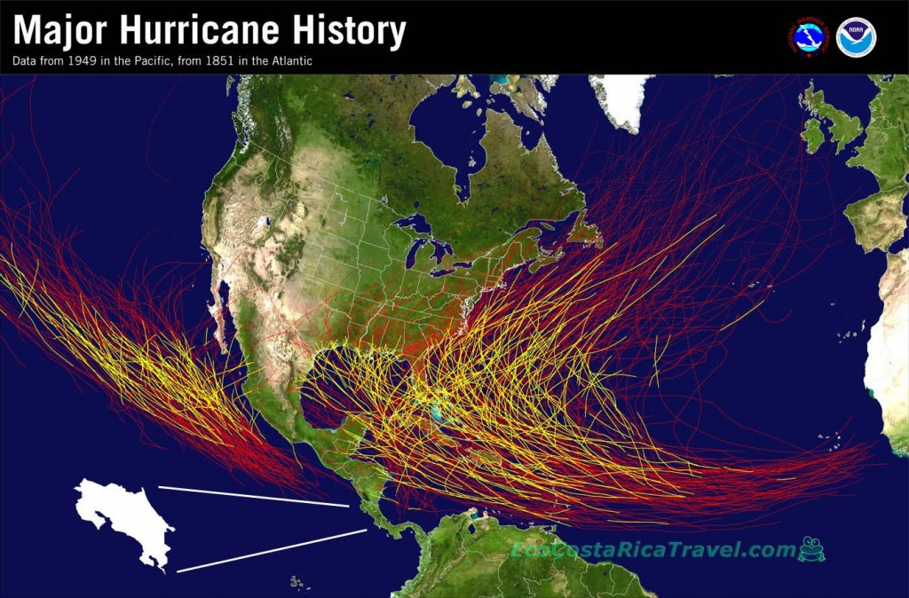 NOAA Map OF Hurricanes