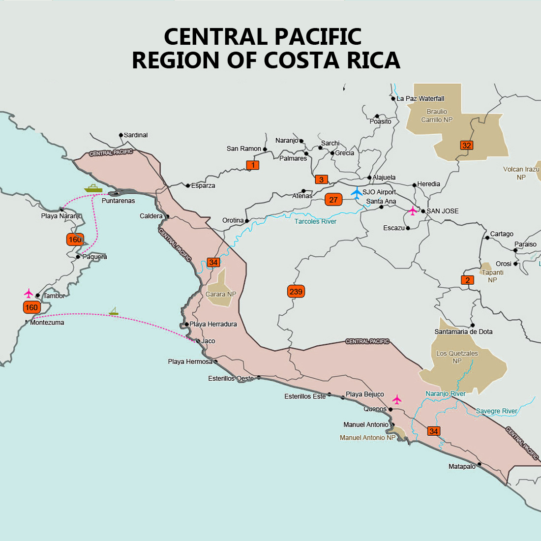 Map of Costa Rica Turtles - Seasons and Nesting Map, Costa Rica