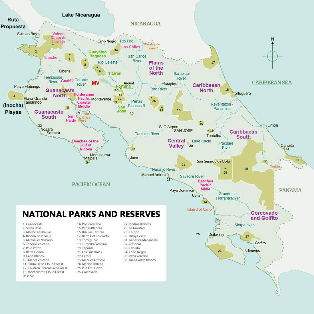 Map Of Costa Rica Turtles